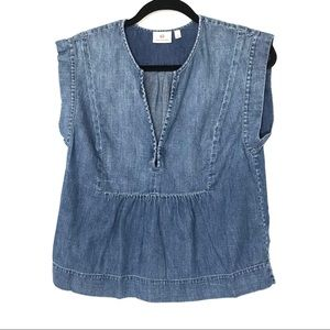 AG Adriano Goldschmied Small Denim Peasant Blouse